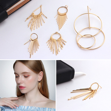 4PCS 24K Gold Color Plated Geometric Shaped Stud Earrings Women Fashion Jewelry Making Findings Accessories