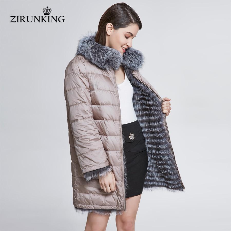 ZIRUNKING Women Real Fox Fur With Down Coat Lady Reversible Thick Fur Jacket Female Winter Down Coats Overcoat Outerwear ZC1827