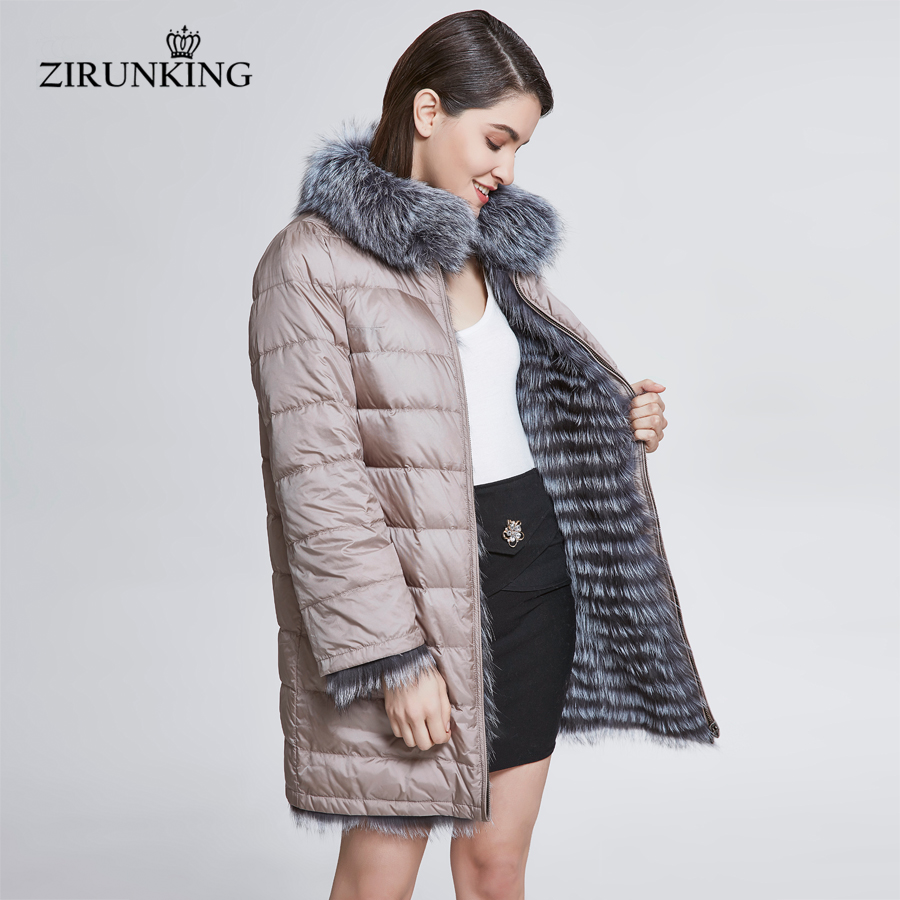 ZIRUNKING Women Real Fox Fur With Down Coat Lady Reversible Thick Fur Jacket Female Winter Down Coats Overcoat Outerwear ZC1827