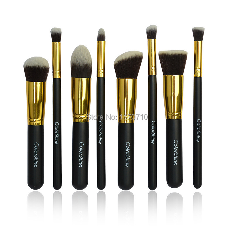 Top Quality Synthetic Hair 8pcs Makeup Brushes Professional Makeup Brush Set With Logos Free Shipping! top quality blonde alice turned synthetic hair wig free shipping