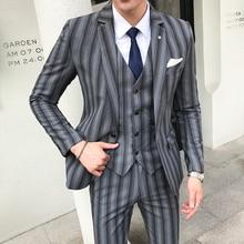 2018 New Arrival Dress Slim Fit Wedding Suits Man Red Grey Men Suit Set( Jacket + Vest + Pant) British Design Striped Mens Suit