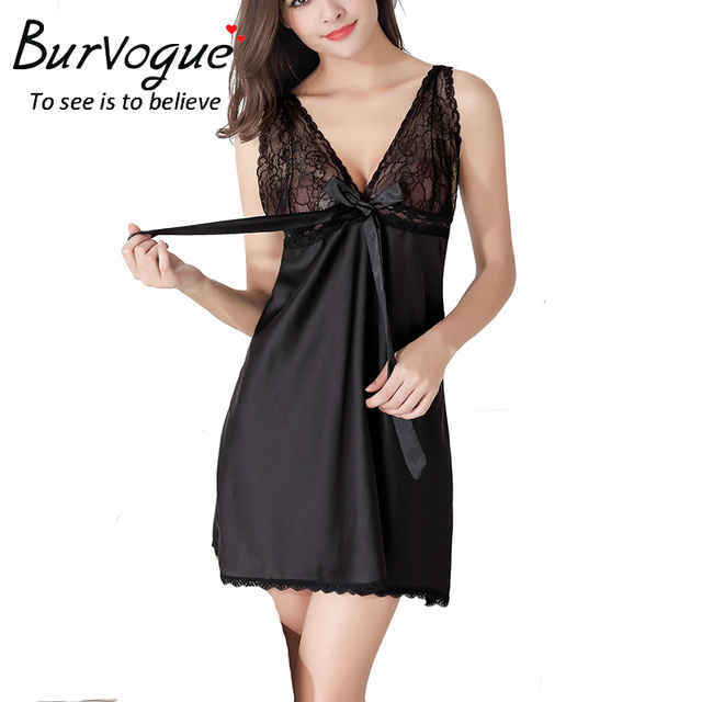 Burvogue Lace Nightdress Sleepwear Baby Dolls Lingerie Deep V Babydoll Silk Chemises Women Sexy Lingerie Nightwear Nightgown