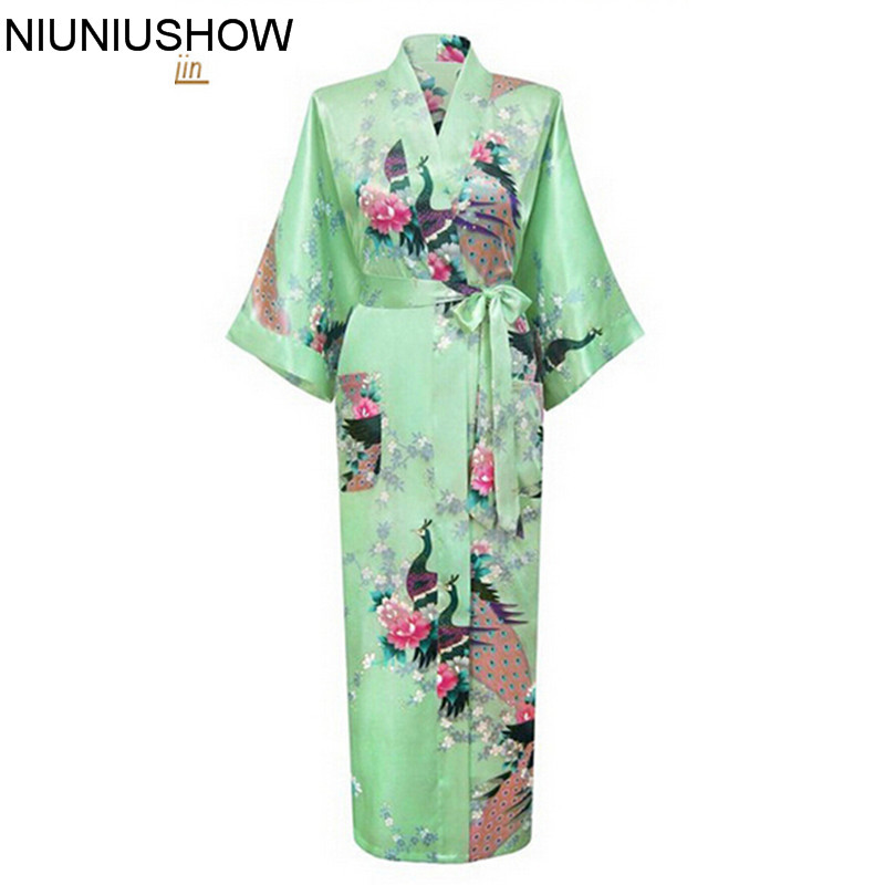 Light Green Chinese Style Print Satin Robes Womens Long Nightwear Casual Bath Gown Flower Plus Size S To XXXL S02K
