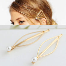 Simple Fashion Jewelry Hairpins Clips Hairpins Hairpins Women Beautiful Plated Women Pearl Hair Clips Bridal Headdress(China)