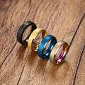 Vnox banhado a ouro anéis para as mulheres anéis de aço inoxidável 6mm fêmea maçante 4 cores para escolher