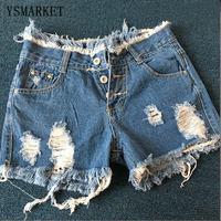 2017 Women Sexy Jeans Denim Shorts Summer Hole Vintage Pocket Slit Club Button Short Pants Skinny