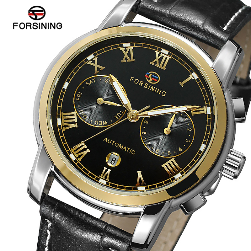 FORSINING Mens Automatic Watch Male Genuine Leather Strap Auto Date Luxury Brand Week Month Mechanical Watches Relogio Masculino orkina luxury brand automatic mechanical men s watch black brown leather strap wrist watch gifts auto date week month display