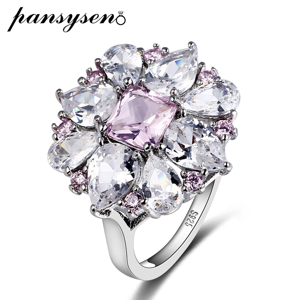 PANSYSEN Top Quality 925 Sterling Silver Ring Fashion Women Gift 3A Zircon Jewelry Brand Wedding Engagement Rings Wholesale in Rings from Jewelry Accessories