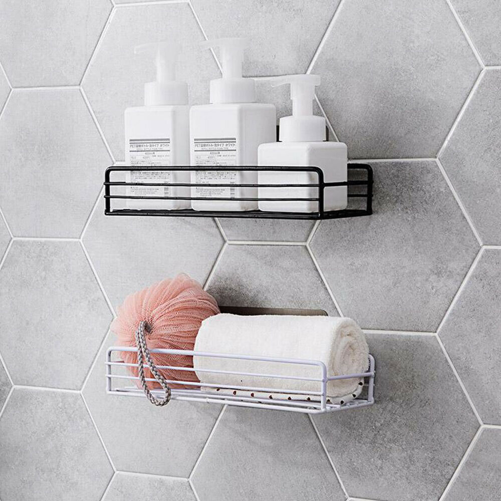 Stainless Steel Shower Caddy Kitchen Bathroom Wall Storage Rack Shelf Suction Organiser Basket Racks Storage Shelves