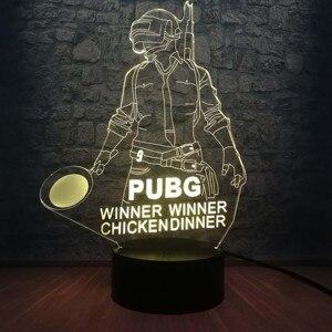 Image 4 - Cool bataille Royale jeu PUBG gagnant 3D veilleuse LED 7 couleur Illusion changeante lampe de bureau pour enfants anniversaire lampe décor à la maison