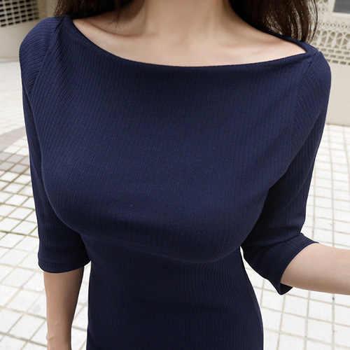 Однотонная футболка тонкие сексуальные женские футболки 2018 новые летние длинные футболки с коротким рукавом черная Корейская женская футболка