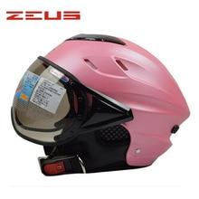 beautiful pink women Summer ZEUS 125B electric motorcycle 3/4 open helmet,motorbike MOTO scooter safety helmet