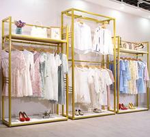 Golden Clothing Shop Solid Wood Display Shelf, Ground-type Double-deck Shelf Side-hanging Clothes for Men and Women
