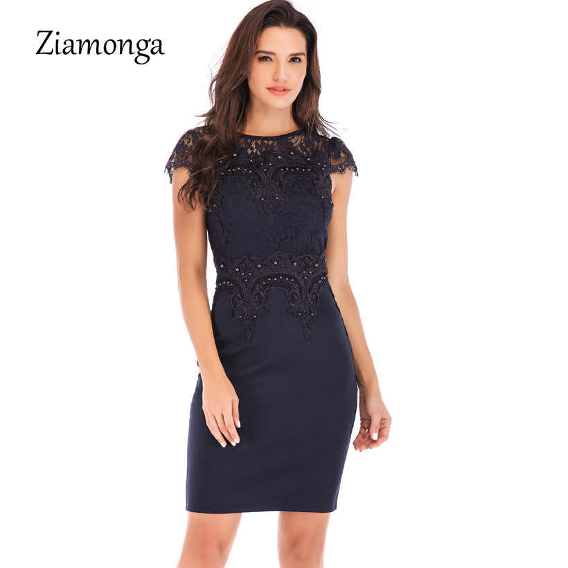 1ee65e924e9 Ziamonga Women Business Office Work Embroidery Lace Dress Tight Beaded  Short Sleeve Mini Dress Sexy Party