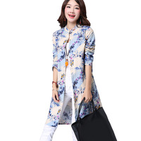 Autumn Full Sleeve Blouse Womens Cotton Linen Floral Long Shirt Blouses Casual Loose Ladies Tops Camisas