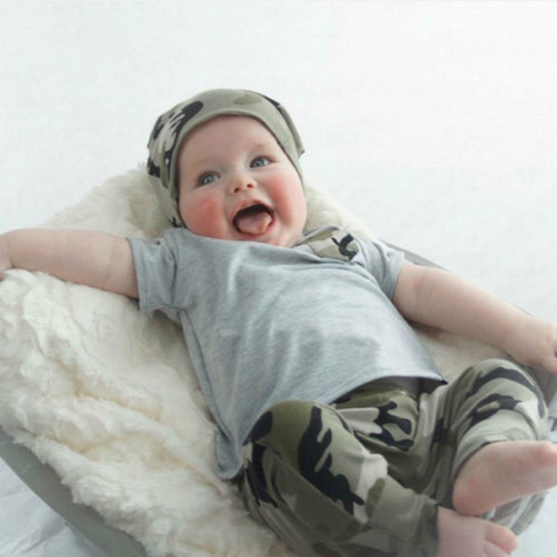 ФОТО n ew 0-3y  2pcsnewborn kids baby boy summer clothes t-shirt tops  and camouflage pants outfits sets