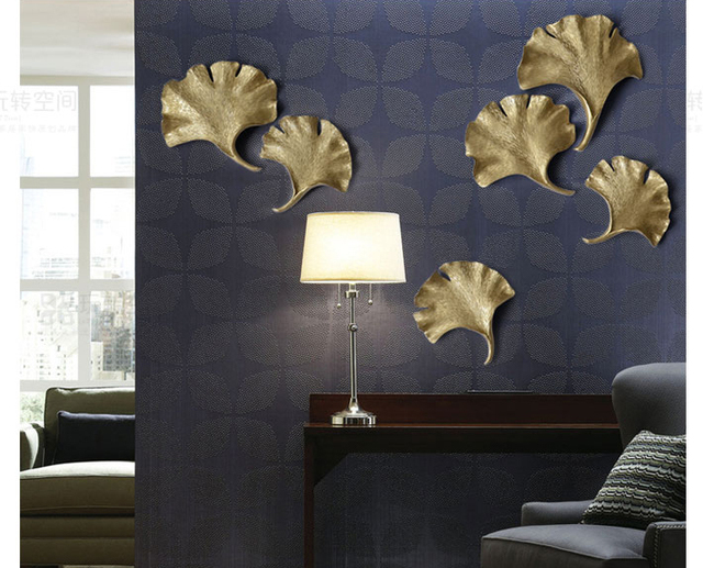 Hot European Resin Leaf Wall Hanging Home Bar Furnishing Craft Tv Background Decoration Gold Silver Leaves