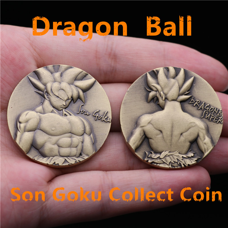 Japan Anime Dragon Ball Super Saiyan Son Goku Collect Coin Commemorative Coins Tossing Cos 3D Badge Christmas Fans Gift Metal