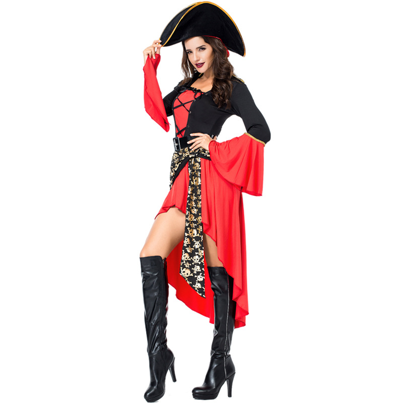Umorden Halloween Costume for Women Cruel Caribbean Seas Captain Pirate Costumes Adult Fancy Cosplay Dress Hat Clothing Carnival