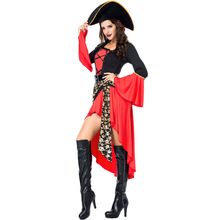 Halloween Costume for Women Cruel Caribbean Seas Captain Pirate Costumes Adult Fancy Cosplay Dress Hat Clothing Carnival