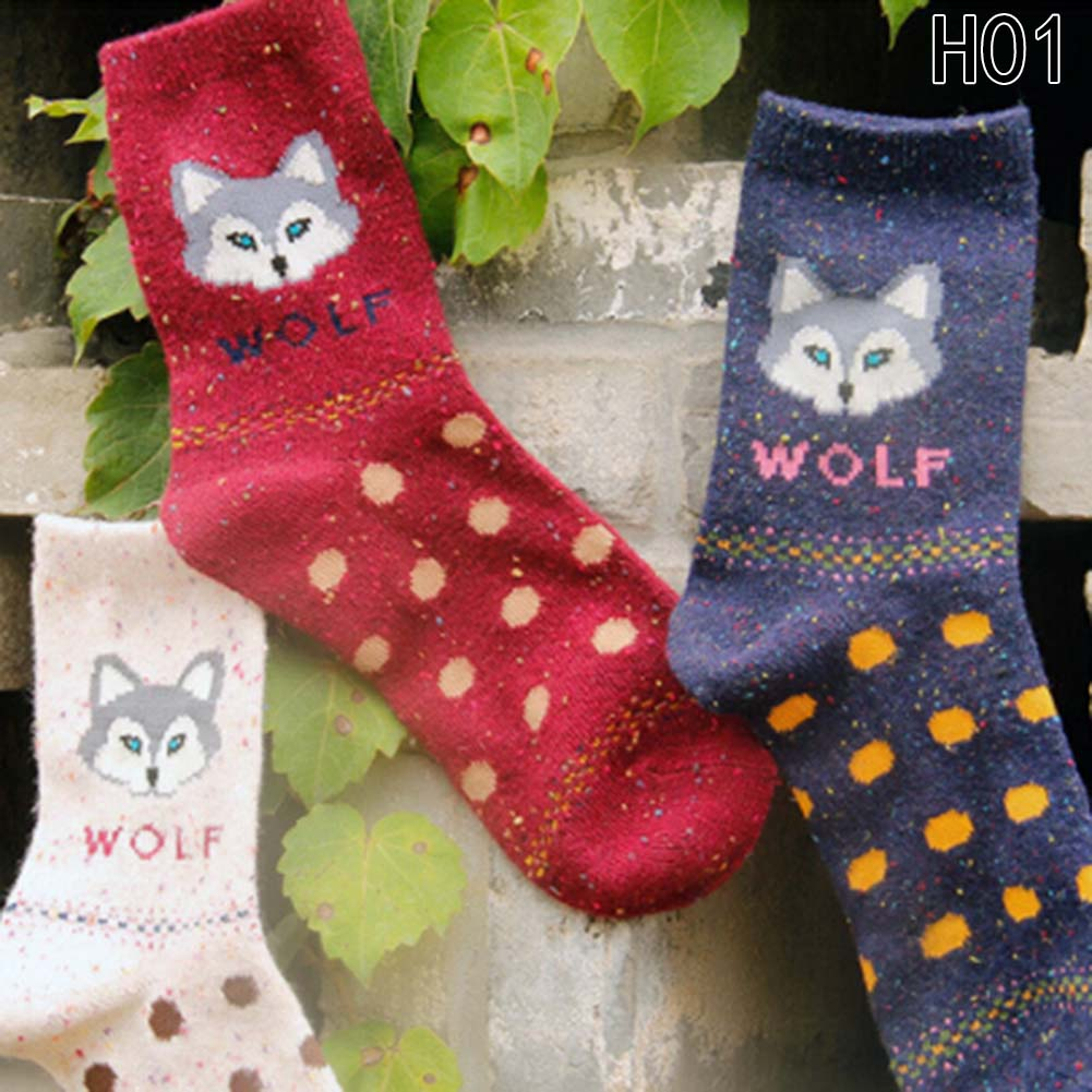 Random Color! Harajuku Animal Fox Wolf Striped Brand Lovely Cute Christmas Thick Wool Cotton Women Girl Crew long Socks Winter
