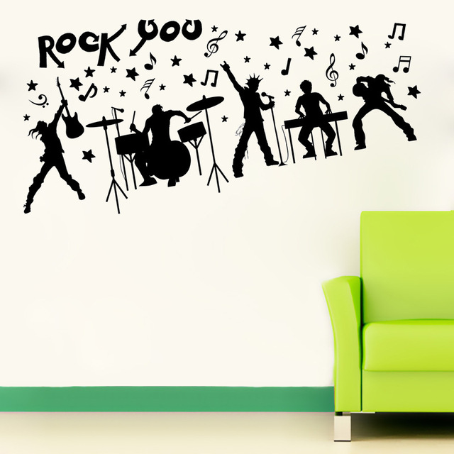 Sk9013 rock music band stickers wall rock music fans decorating diy household adhesive vinyl wall art
