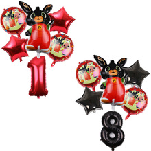 6 шт./лот 83*44 см мультфильм Bing Bunny 32 дюймов номер фольги воздушный шар кролик шары День рождения украшения Детские шары globos