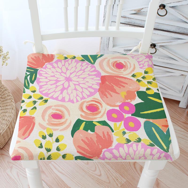 pas de amrica rural floral banco silla silla cojn de algodn y lino cojn cojn