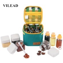 VILEAD Outdoor Camping Tableware Storage Container Spice Jar Seasoning Box Portable Oil Bottle For Picnic BBQ