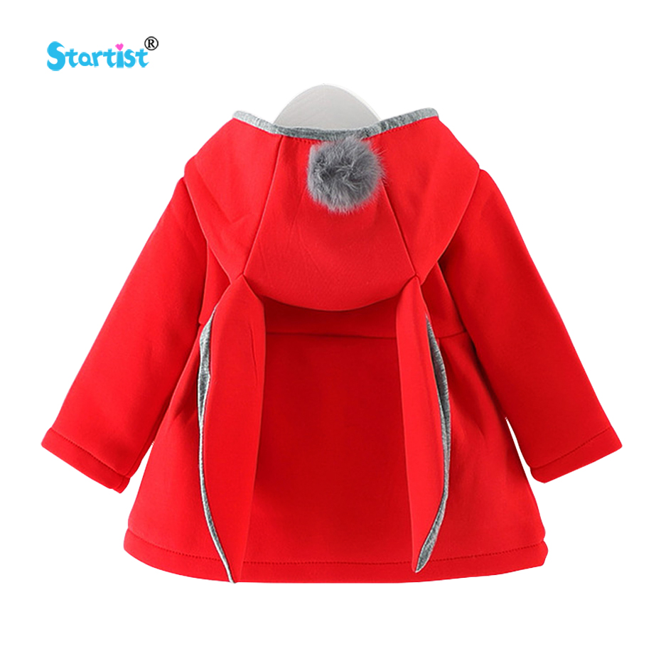 Startist Baby Outwear Coat Cute Rabbit Hooded Autumn Princess Newborn Jacket With Ball Christmas Gifts Winter Baby Girl Clothes