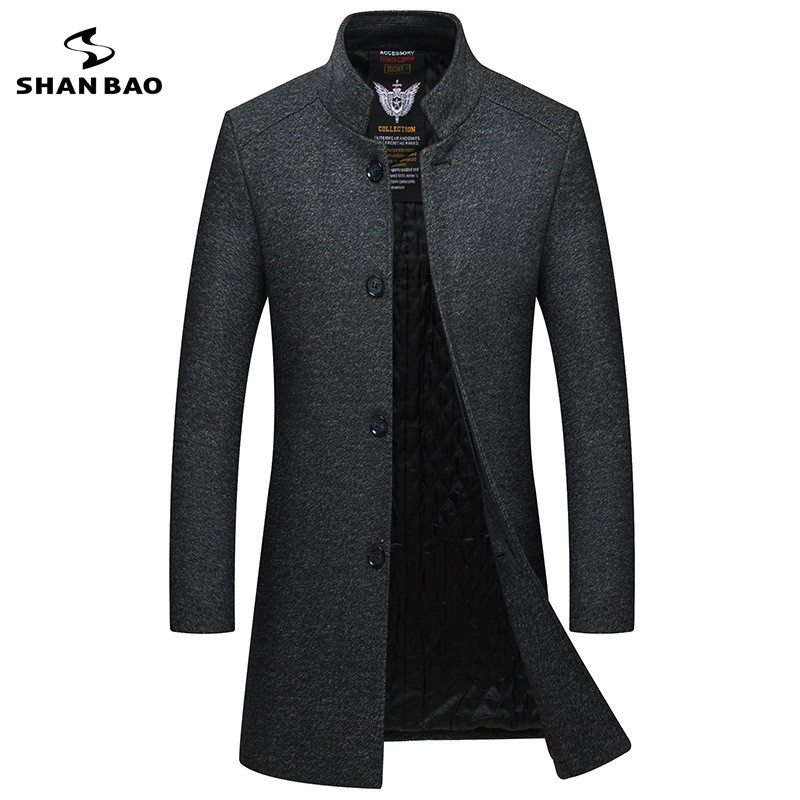 Woolen Coat Business Men's Winter Casual Single-Breasted Thick High-Quality Warm Slim