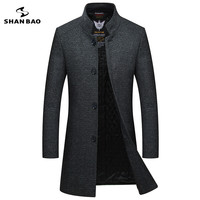 2019 winter new style men's slim woolen coat luxury high quality thick warm single breasted stand collar business casual coat