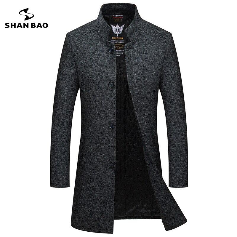2019 зимнее Новое Стильное мужское тонкое шерстяное пальто роскошное высококачественное толстое теплое однобортное пальто с воротником стойкой в деловом стиле