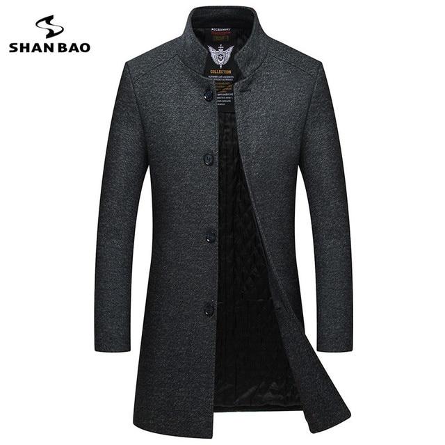 2019 зимнее Новое Стильное мужское тонкое шерстяное пальто роскошное высококачественное толстое теплое однобортное пальто с воротником-стойкой в деловом стиле
