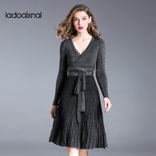 Iadoaixnal High quality fashion black sweater A line women dress V neck elegant fashion casual knitted