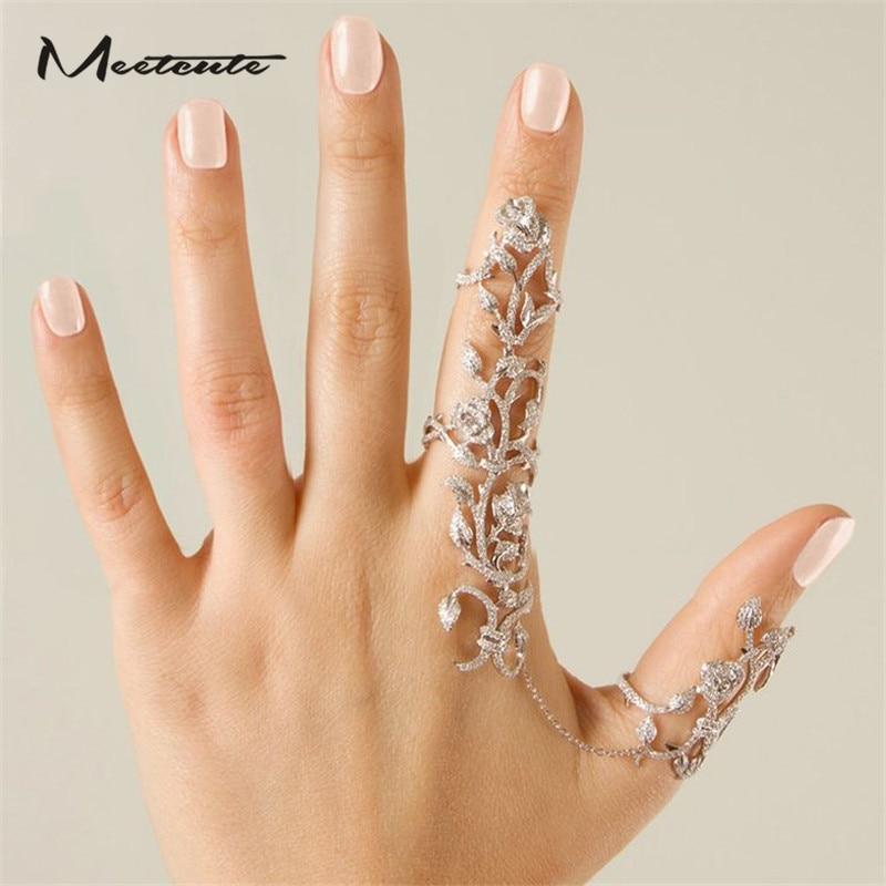 1d9f338e11b1 Detalle Comentarios Preguntas sobre Meetcute plata Color dorado doble dedo  completo anillos para mujer Knuckle Armor largo completo Diamante de  imitación ...