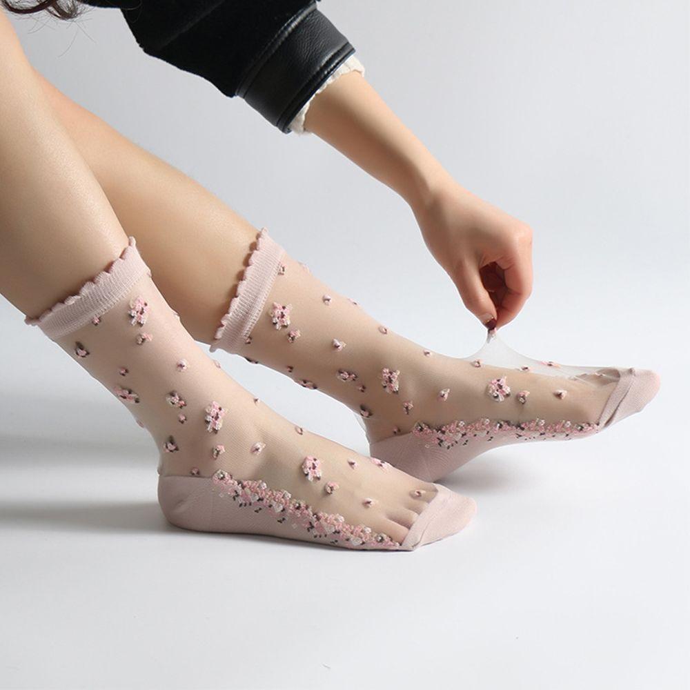 2019 Spring Summer Elastic Socks Crystal Glass Silk Ultrathin Lace Literary Sale 1 Pair Summer Transparent Jacquard Short Socks