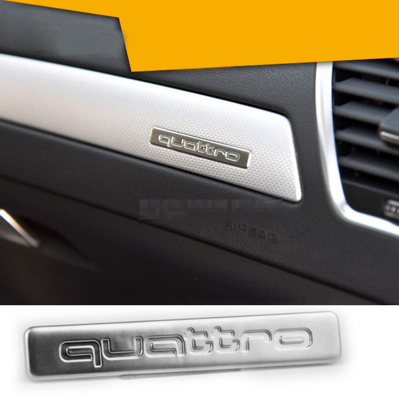 Audi A3 A4 A5 A6 A7 A8 Q3 Q5 Q7 S4 S5 S6 RS7 8 TT interior Dashboard cuatro ruedas unidad Quattro logo Sport Etiqueta de metal de aluminio