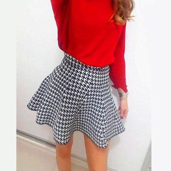2019 Spring Autumn New Women Skirt Knitting Woolen Midi Skirt Ladies High Waist Casual Pleated Elastic Flared Skirts Womens 3