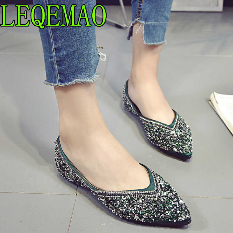 European Brand Glitter Flats Women Bling Crystal Ballet Shoes Silver  Pointed Toe Glitter Shoes Lady Comfortable fe321cee64a0