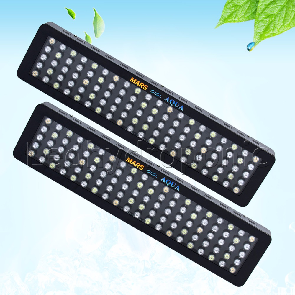 2PCS Dimmable 300W LED Aquarium Grow Light Full Spectrum For Reef Coral LPS/SPS programmable romote 300w aquarium wireless dimmable controller phantom led light 100x3w sunrise sunset coral reef led lighting