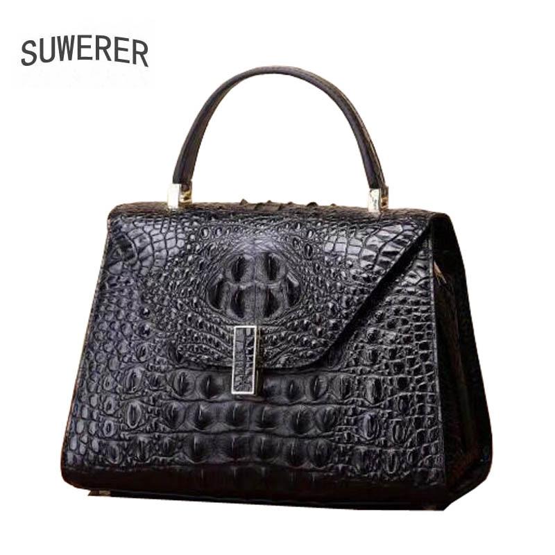 2019 New women genuine leather bag brands fashion Embossed crocodile pattern cowhide tote women handbags leather art bag