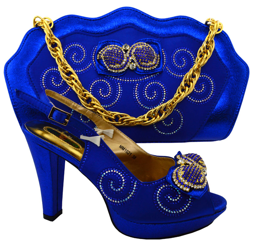 ФОТО New Fashion Italian Shoes And Bag Set Italy Ladies Open Toe Heels African Shoes And Bag Set For Party royal blue Color  HFC1-9