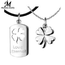 Romantic Women Men Pendant Clover Couples Necklace Pendant Silver Plated Jewelry Lucky Charm Lovers Jewelry Wholesale