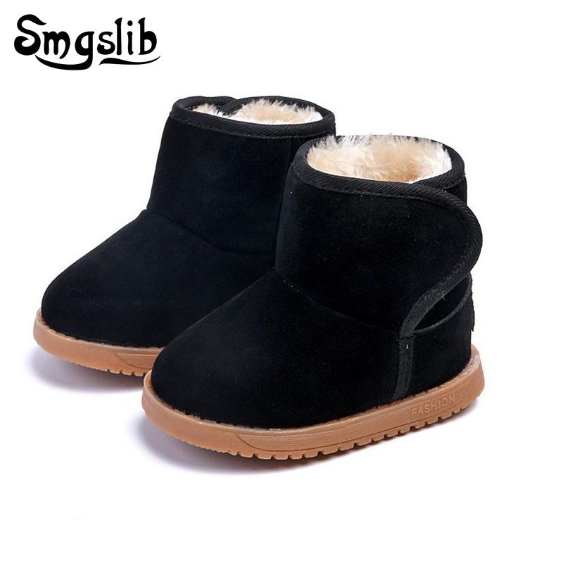 Toddler Girls Winter Boots Thick Warm Child Snow Boots Boys Fashion Flat With Plush Fur Ankle Snow Boots Suede Kids Shoes