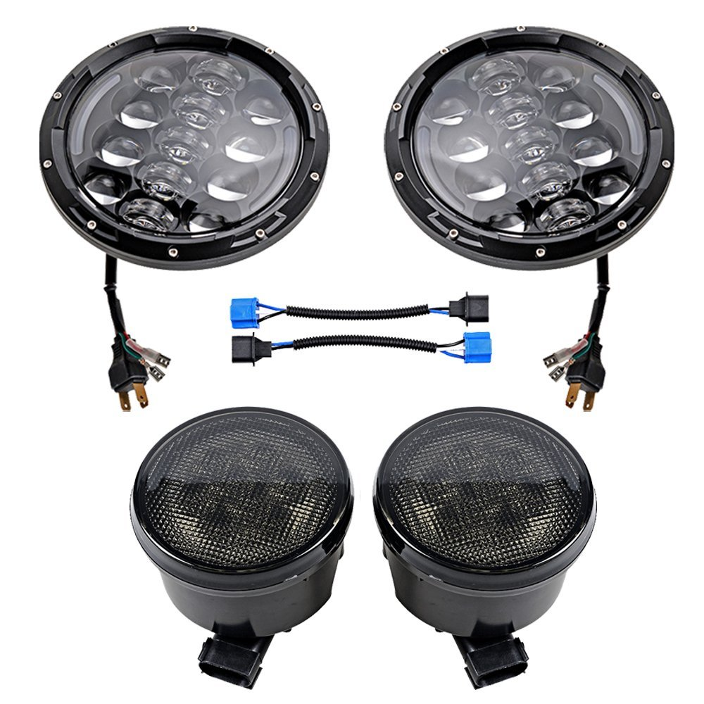 7 inch round Black led Projector Daymaker headlight and Amber Front LED Turn signal light Assembly for Jeep 07-16 Wrangler JK