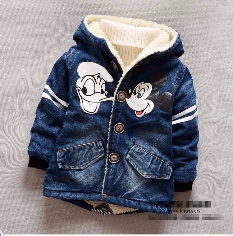Winter Autumn Baby Boys Girls Denim Jackets Cartoon Lovely Mouse Outerwear Thicken Coats Hoodies Children's Tollder Clothes(China)