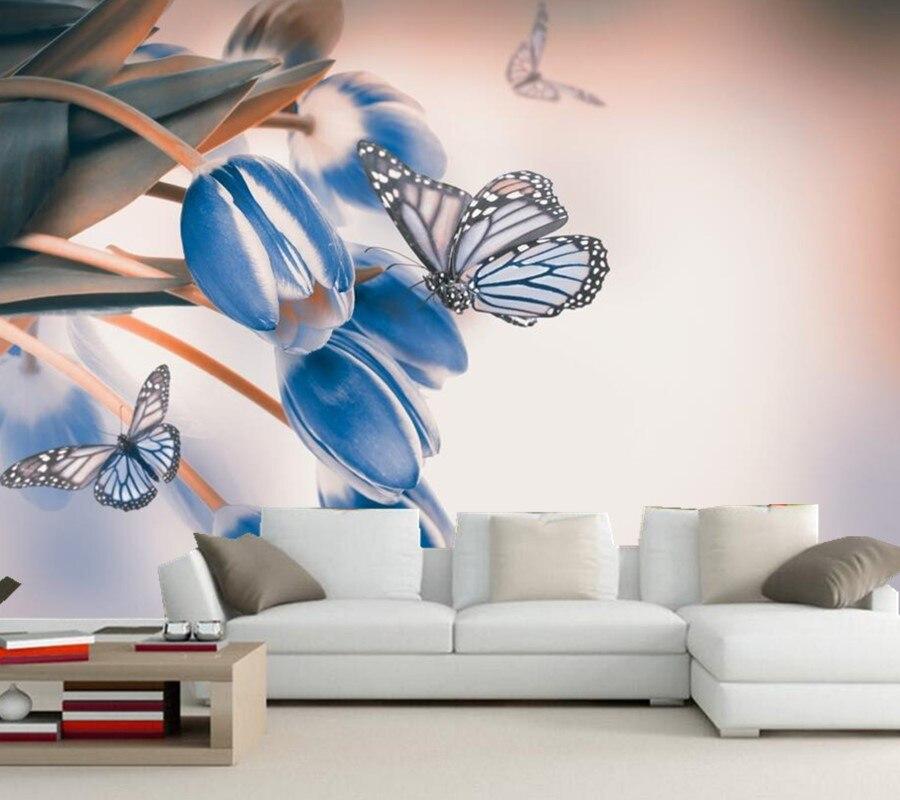 Schmetterling Und Blumen Schlafzimmer Tapete-Kaufen ...