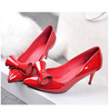 Genuine Leather 2016 Plus Size 33-43 Women's Pumps Fashion Sexy Elegant Pointed Toe Med Heel Bowtie Woman Shoes Black Red AA316