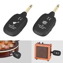 UHF גיטרה אלחוטית מערכת משדר מקלט מובנה נטענת שחור תשלום יציאת מיקרו USB UHF 730MHz קל משקל max.50